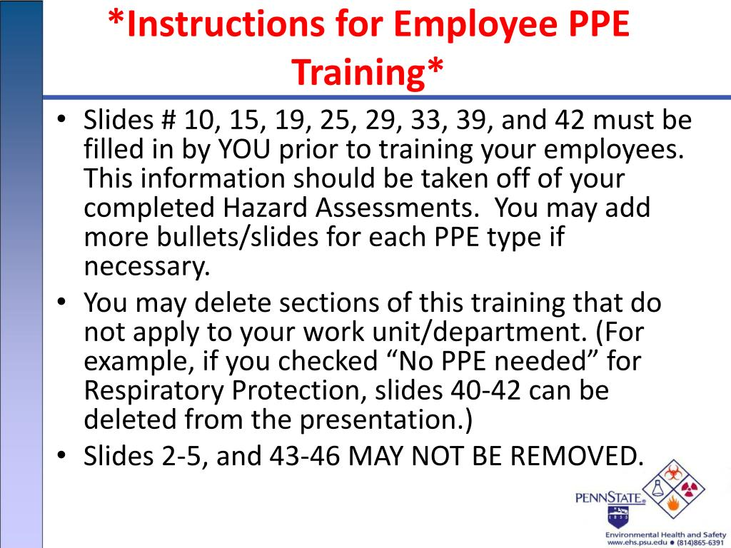 instructions for employee ppe training l.