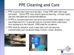 ppe cleaning and care