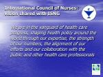 international council of nurses vision shared with isng