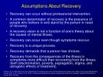 assumptions about recovery