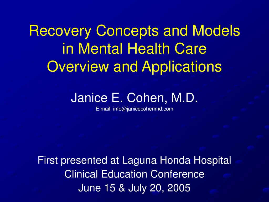 recovery concepts and models in mental health care overview and applications l.