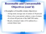 reasonable and unreasonable objectives cont d