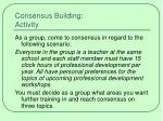 consensus building activity