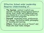 effective school wide leadership requires understanding of