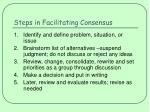 steps in facilitating consensus