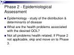 phase 2 epidemiological assessment