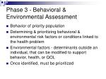 phase 3 behavioral environmental assessment