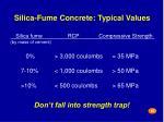 silica fume concrete typical values25