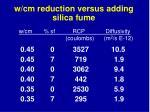 w cm reduction versus adding silica fume
