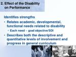 2 effect of the disability on performance