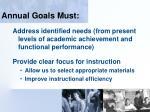 annual goals must