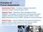 examples of formal assessments