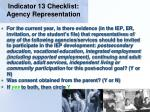 indicator 13 checklist agency representation51