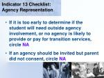 indicator 13 checklist agency representation52