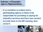 indicator 13 checklist agency representation53