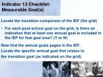 indicator 13 checklist measurable goal s124