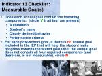 indicator 13 checklist measurable goal s125