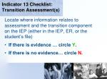 indicator 13 checklist transition assessment s16