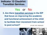 indicator 13 checklist transition services