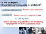 let me show you classroom performance is inconsistent