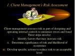 1 client management s risk assessment