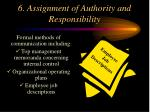 6 assignment of authority and responsibility