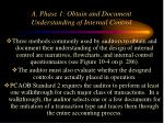 a phase 1 obtain and document understanding of internal control