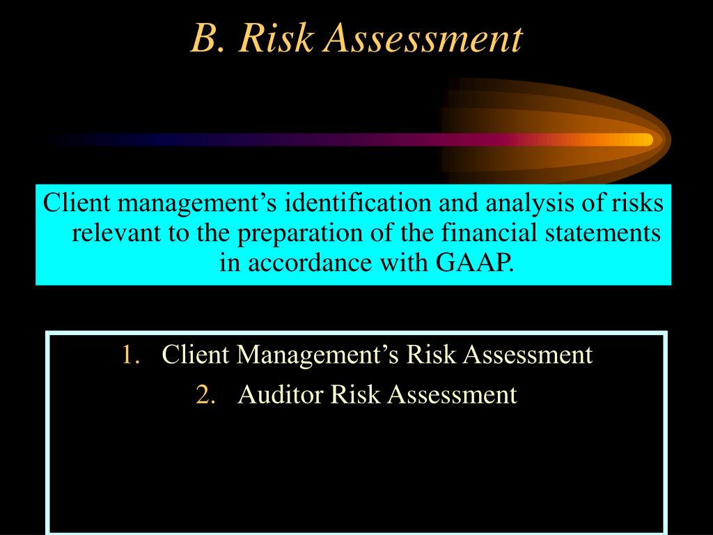 Client management's identification and analysis of risks relevant to the preparation of the financial statements in accordance with GAAP.