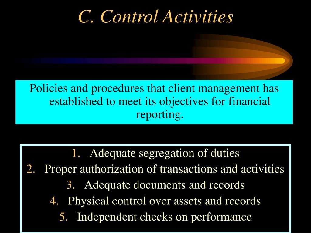 Policies and procedures that client management has established to meet its objectives for financial reporting.