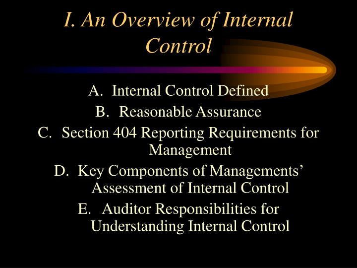I an overview of internal control
