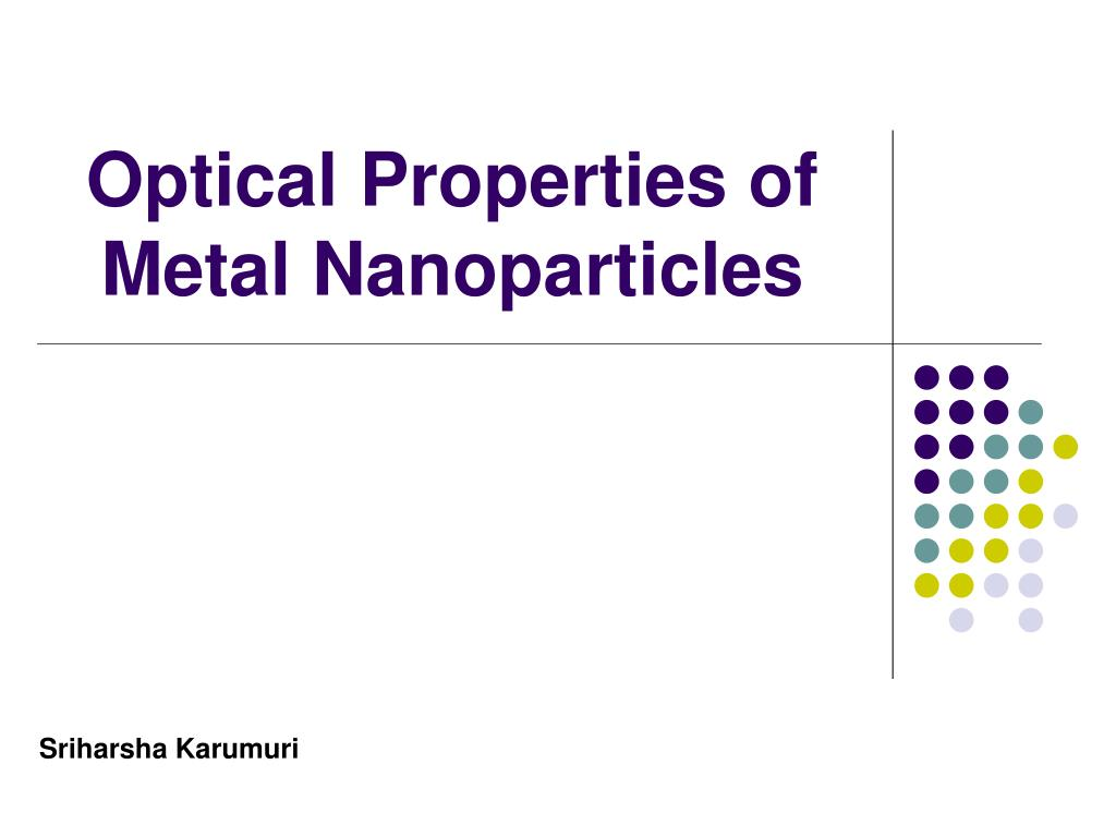optical properties of metal nanoparticles l.