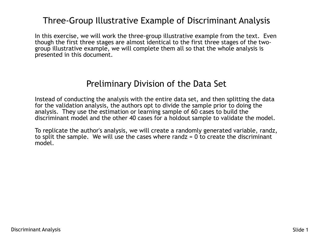 three group illustrative example of discriminant analysis l.