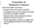evaluation of redaction criticism