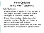 form criticism in the new testament