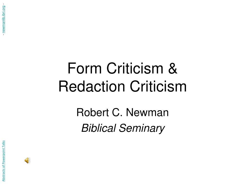 form criticism redaction criticism l.