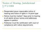 notice of hearing jurisdictional 37 2 1004