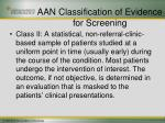 aan classification of evidence for screening23