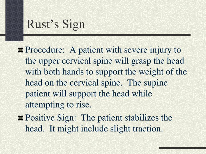 rust sign orthopedic test