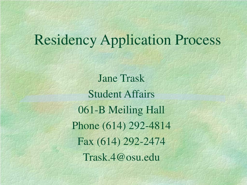 residency application process l.