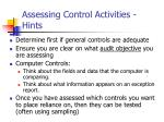 assessing control activities hints
