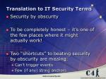 translation to it security terms