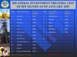 bilateral investment treaties list of bit signed as of january 2005