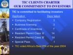 tic clients charter our commitment to investors