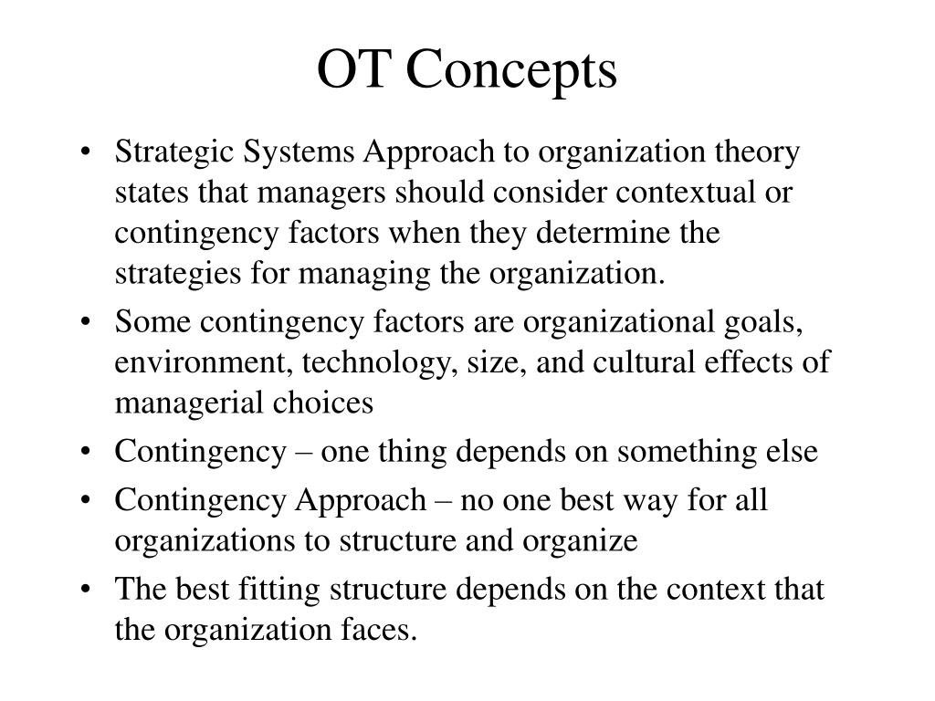 contingency theory of organizational structure
