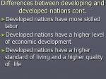 differences between developing and developed nations cont