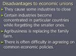 disadvantages to economic unions