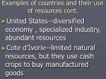 examples of countries and their use of resources cont