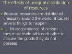 the effects of unequal distribution of resources