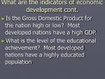 what are the indicators of economic development cont