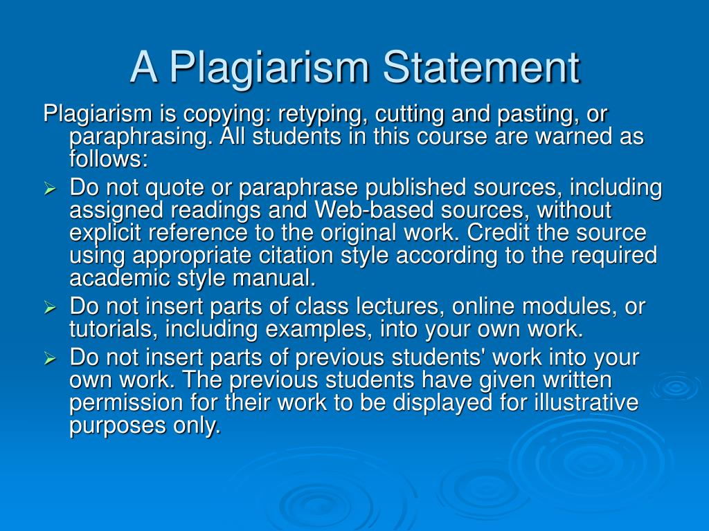A Plagiarism Statement
